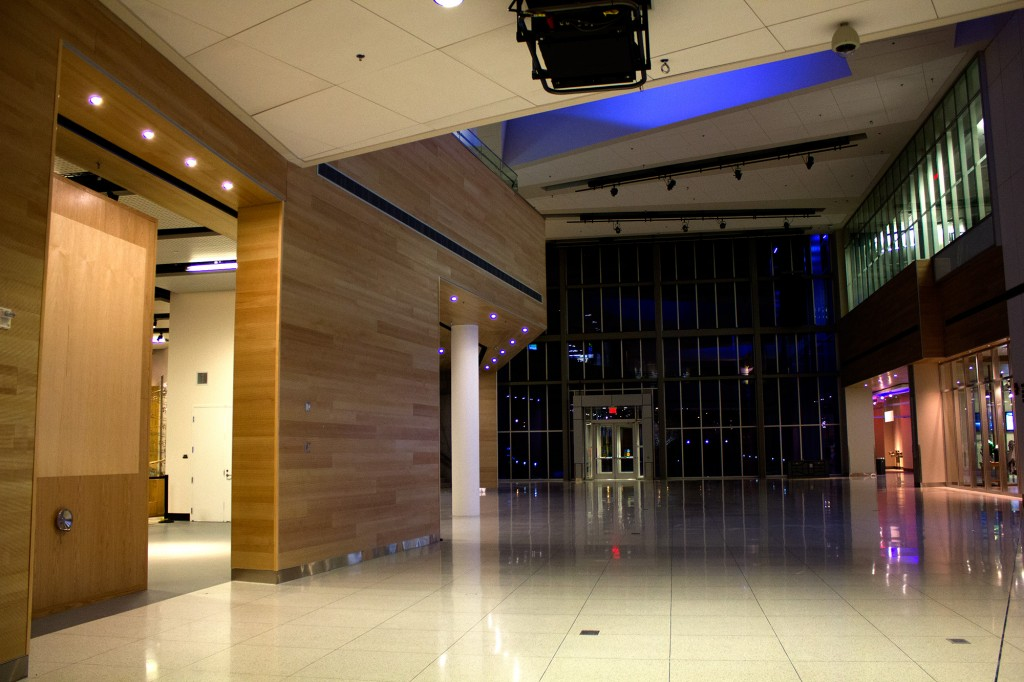 Hidden LED Wall with a single crank, seen from the atrium